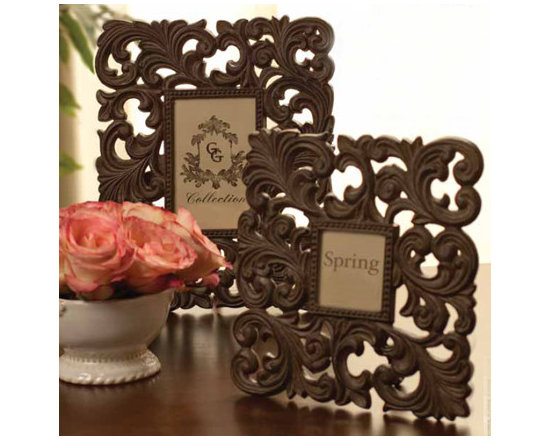 The GG Collection Photo Frames - Give your special photos the frame they deserve! These cast aluminum frames from the GG Collection are exceptional.  Beautiful, Italian-inspired, ceramic serving pieces with burnished metal accents by the GG Collection. This exceptional line of goods, for gracious entertaining, brings Old World elegance and style to your home.