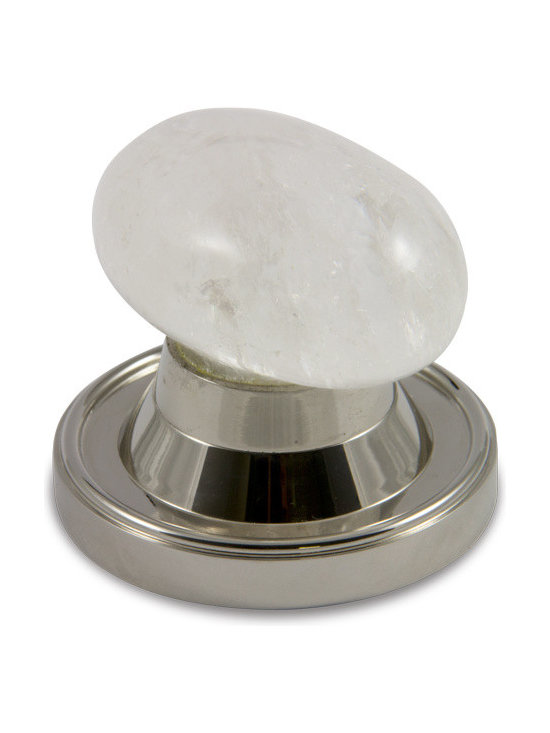 Oval Door Knob Collection - Oval Design Rock Crystal Door Knob with High Top (H) Rose in Polished Nickel Finish