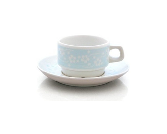 notNeutral Flora Cup and Saucer Set - The pattern is a sleeker, quieter version of ourselves. Based on the Flora pattern by notNeutral, don't let the light blue fool you. Look closely at the pattern and find the thorns among the flowers.