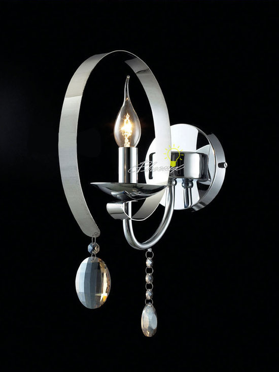 tainless and Crystall Wall sconce in polished chrome finish - Size:D10.23'' X H13.77''