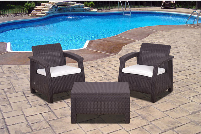 Atlantic 39 Mykonos 39 3 Piece Brown Wicker Balcony Set Contemporary Patio Furniture And Outdoor