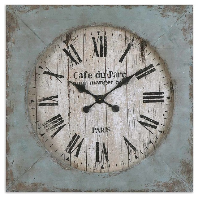 Paron Rustic Cafe Du Parc Square Wall Clock Distressed