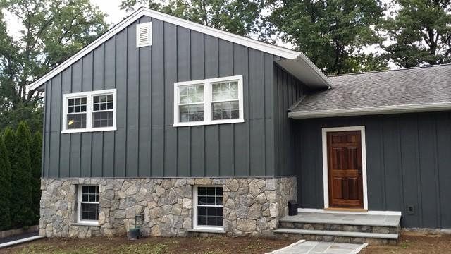 iron grey hardiepanel board and batten traditional exterior bridgeport by burr roofing. Black Bedroom Furniture Sets. Home Design Ideas
