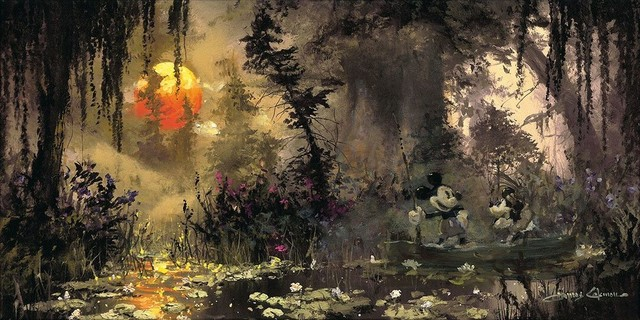 Disney Fine Art Fishing at Lily Pad Lake by James Coleman - Gallery Wrapped Gicl - Transitional ...
