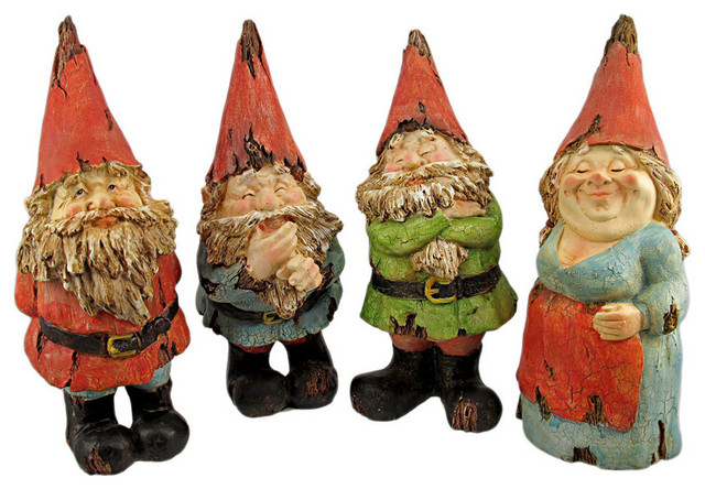 Set of 4 Driftwood Look Garden Gnome Statues contemporary-garden-sculptures