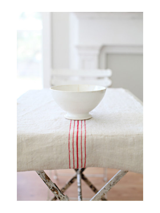 """Antique Red Striped Grain Sack Runner - This is a table runner made from an antique European Grain Sack. These also look great at the end of a bed. measurements: 100 1/2"""" long20"""" wide"""
