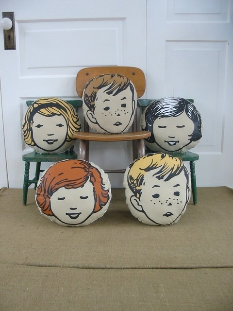 Girl / Boy Head Pillows by Vintage Jane eclectic-decorative-pillows