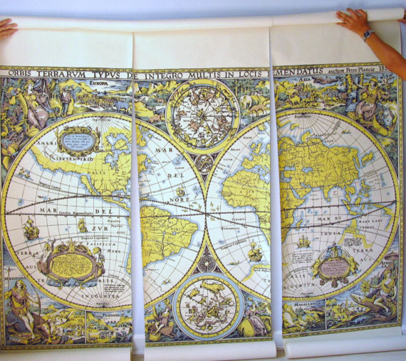 Wallpaper Mural Large Scale Map Of The World By The Vintage Mistress traditional-artwork