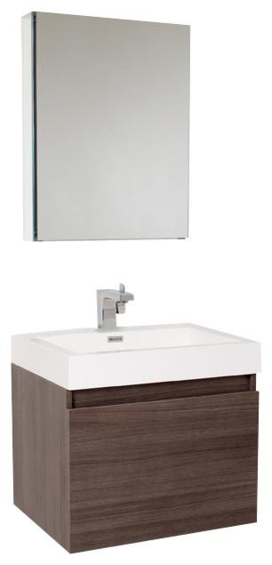 Fresca nano gray oak modern bathroom vanity w blum storage for Decorplanet bathroom vanities