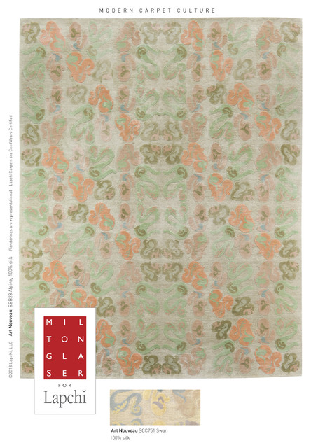 Art Nouveu, Milton Glaser for Lapchi Collection, Handwoven Fine Art Rugs contemporary-rugs