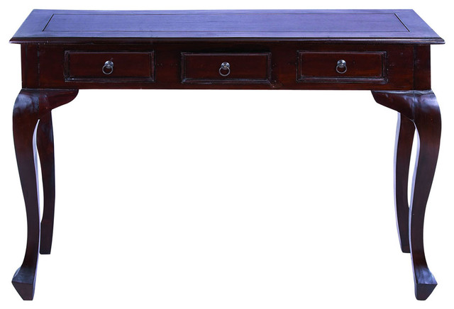 Traditional Wooden Console Table with Metal Pulls & Curved Legs - Traditional - Console Tables ...