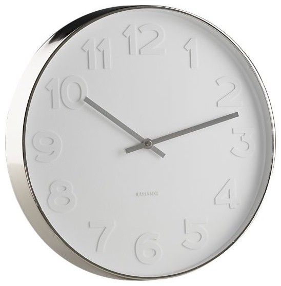 Embossed Numbers Wall Clock in Clocks contemporary clocks