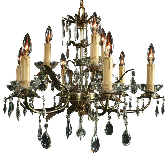 Consigned Vintage French Chandelier 9 Arms Leaf traditional-chandeliers