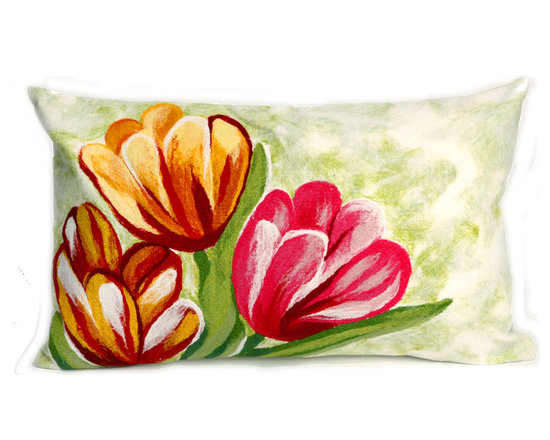 """Trans-Ocean Outdoor Pillows - Trans-Ocean Liora Manne Tulips Warm - 12"""" x 20"""" - Designer Liora Manne's newest line of toss pillows are made using a unique, patented Lamontage process combining handmade artistry with high tech processing. The 100% polyester microfibers are intricately structured by hand and then mechanically interlocked by needle-punching to create non-woven textiles that resemble felt. The 100% polyester microfiber results in an extra-soft hand with unsurpassed durability."""