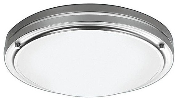 Forecast Satin Nickel with White Flushmount Ceiling Light contemporary-flush-mount-ceiling-lighting
