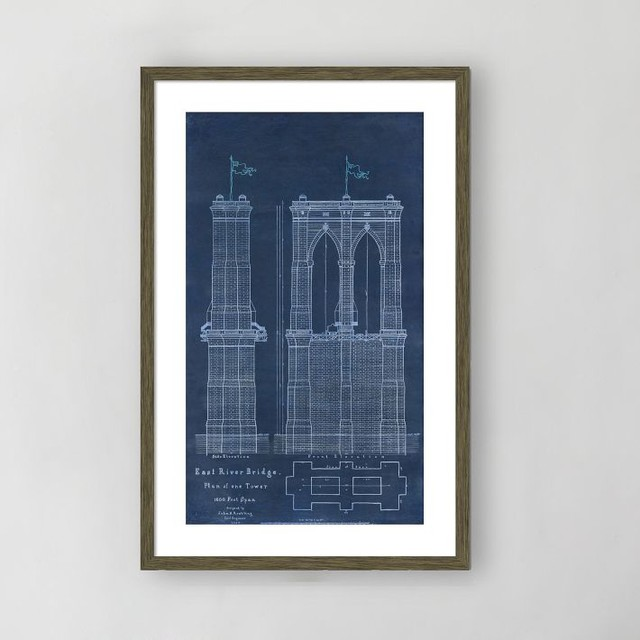 Framed Print, East River Bridge I eclectic-prints-and-posters