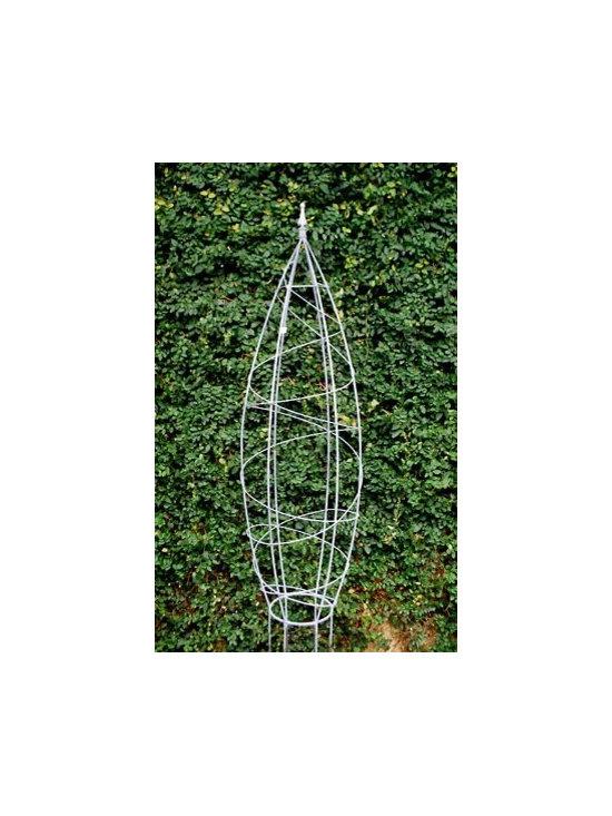 Galvanized Web Obelisk Topiary Form -