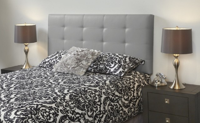 Milton Grey Leather Queen Tufted Bed Frame Modern Beds