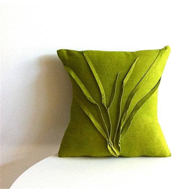 The Modern Pillow : Grass Texture Pillow, Moss Green - Modern - Decorative Pillows - by carol gilbert . yorktown road