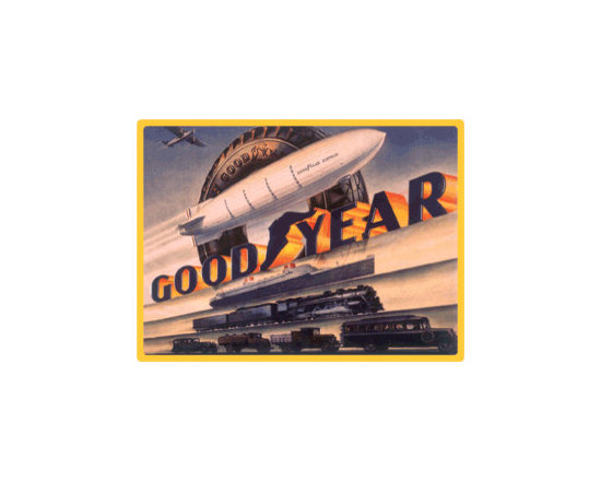 Goodyear Blimp Embossed Sign - Goodyear Rubber Company -