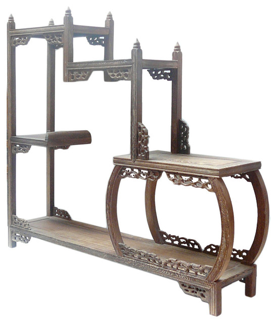 Chinese Brown Wood Tower Shape Small Curio Display Easel asian-storage ...