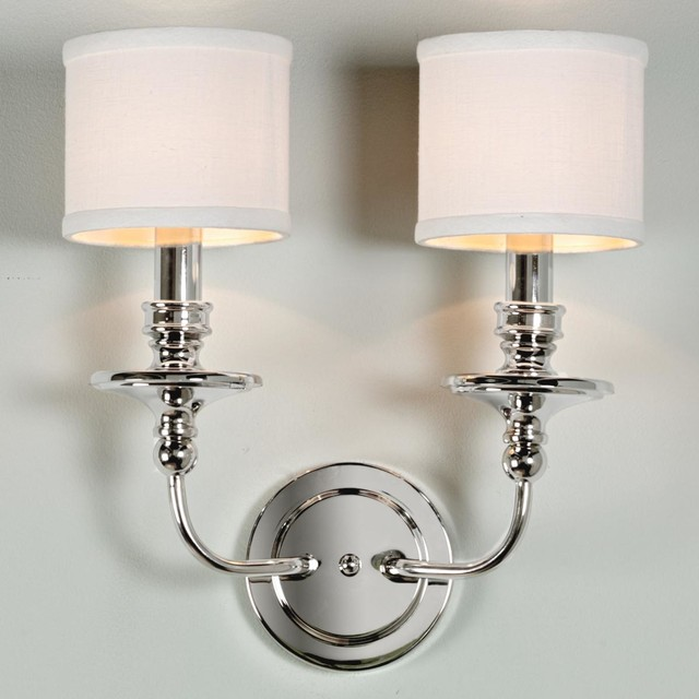 Springfield Sconce With Linen Drum Shades 2 Lt 3 Finishes Lamp Shades By Shades Of Light