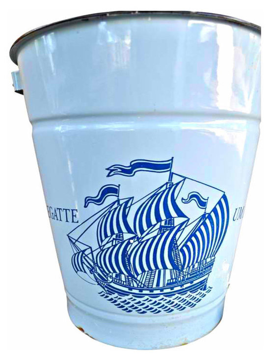 Enamel pail - Pail love is all I can say... Displays a wonderful sailboat. So unuiqe found from a European dealer, Dark blue graphics on light blue pail, has wooden handle.. It would be awesome for a coastal home or a childs room.