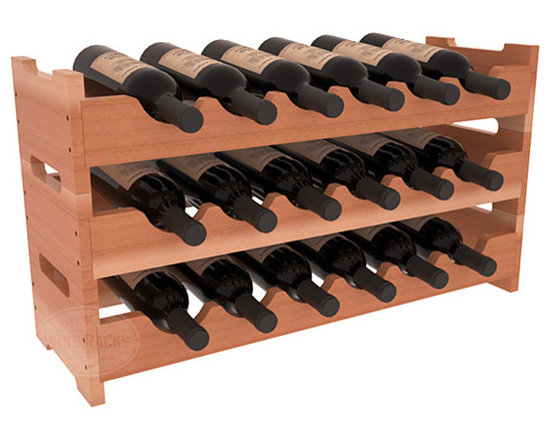 Wine Racks America - 18 Bottle Mini Scalloped Wine Rack in Redwood, Satin Finish - Stack three 6 bottle racks with pressure-fit joints for proper storage of 18 wine bottles. This rack requires no hardware for assembly and is ready to use as soon as it arrives. Makes the perfect gift and stores wine on any flat surface.