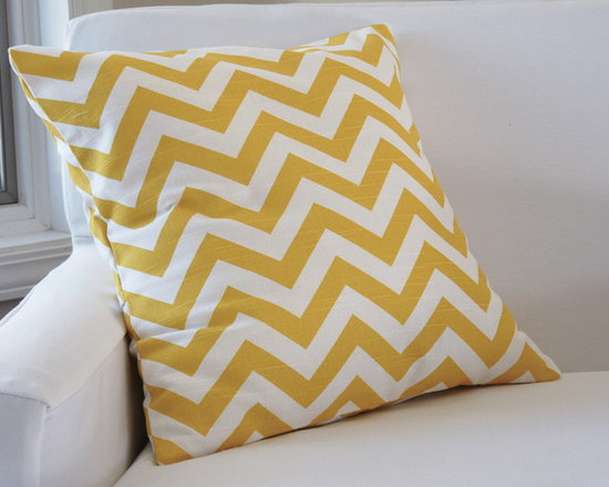 """17""""x17"""" Chevron Throw Pillow Cover - Mustard - This fun throw pillow cover brings fun and cheer to any space. 17"""" x 17"""". Heavy cotton, mustard yellow, and white. Fold-back opening."""