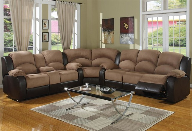 Carrie Two Tone Reclining Leather Corner Sect