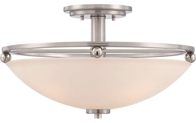 Quoizel Lighting QF1830BN Semi-Flush Mount Ceiling Light In Brushed nickel - Transitional ...