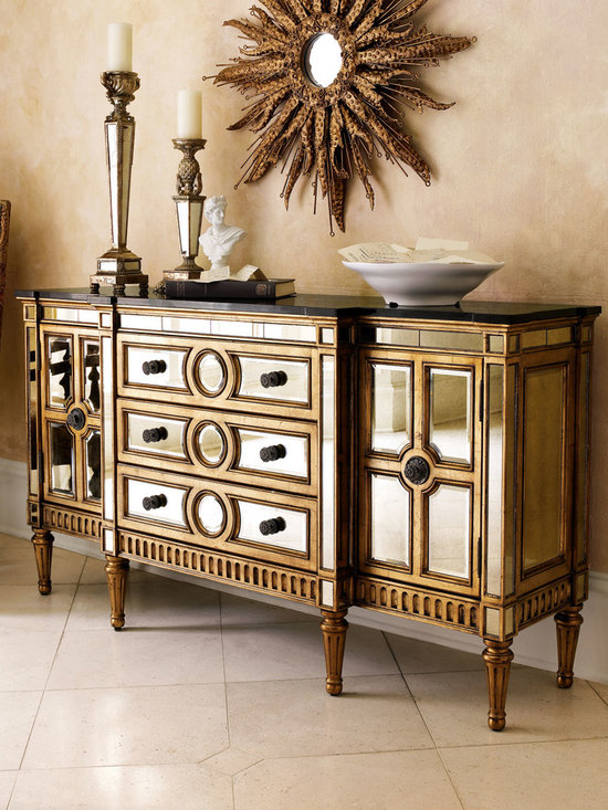 Gold Mirrored Console - Your favorite mirrored console now comes with a golden finish on the frame, so it's more glamorous than ever.