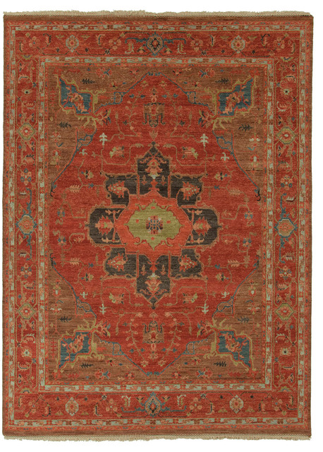 Hand Knotted Oriental Pattern Wool Red Blue Area Rug 6x9