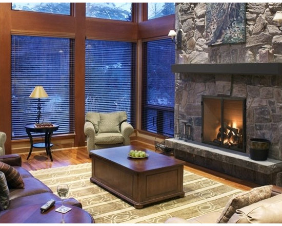 Heat & Glo Rutherford Wood Fireplace - The Rutherford Series offers robust performance and the appearance of a custom-built masonry fireplace—all at a fraction of the cost. Whether a crackle or a blaze, the Rutherford delivers a bold statement in your favorite room.