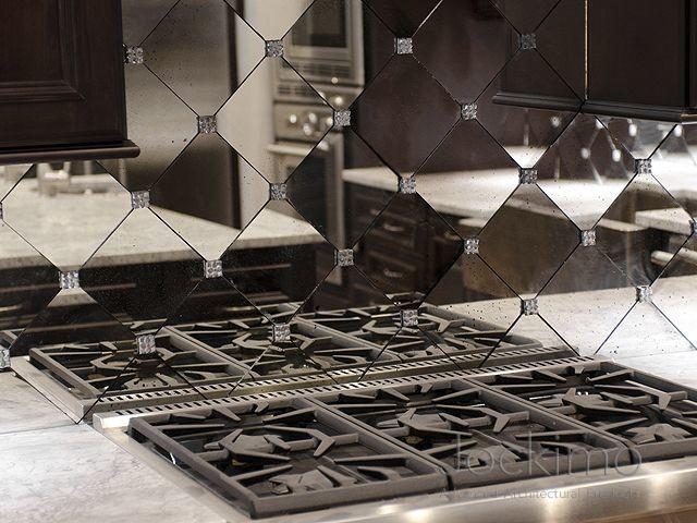 private residence antique mirror backsplash tiles
