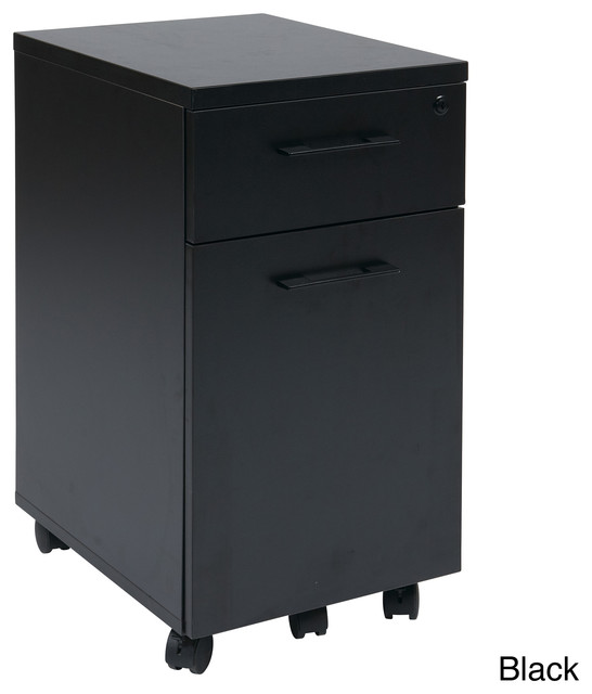 Prado Mobile Laminate File Cabinet with Metal Drawer Pulls and Hidden Box Drawer - Contemporary ...