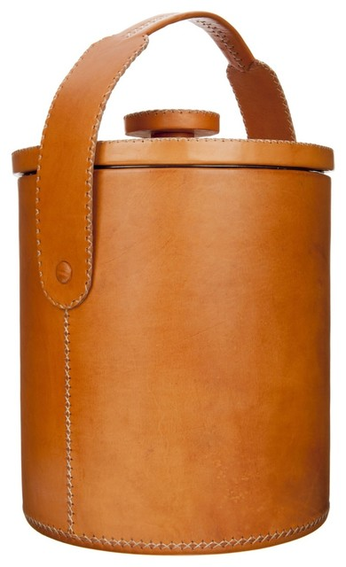 Outdoor Round Leather Cooler modern-wine-and-bar-tools