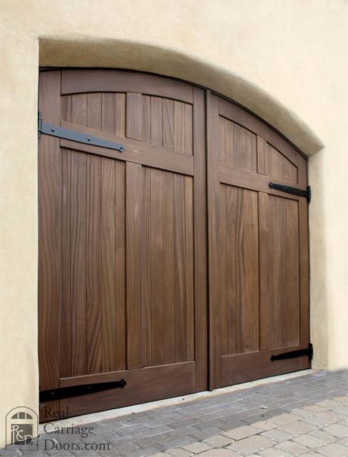 Mahogany Arched Wood Carriage Garage Doors - Garage Doors ...