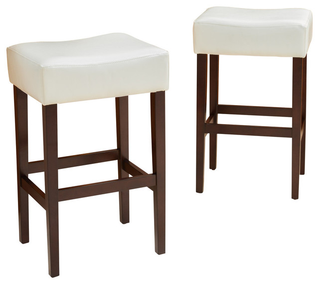Duff Backless Leather Bar Stools Ivory Set Of 2