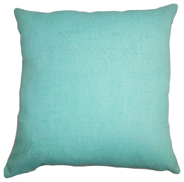 Haloke Solid Pillow Turquoise 20 Quot X20 Quot Traditional