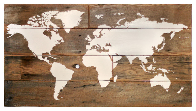 Large Barn Wood World Map Rustic Wall Decor
