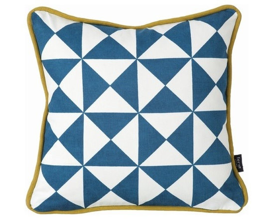 Ferm Living Organic Blue Little Geometry Pillow - Ferm Living Organic Blue Little Geometry Pillow
