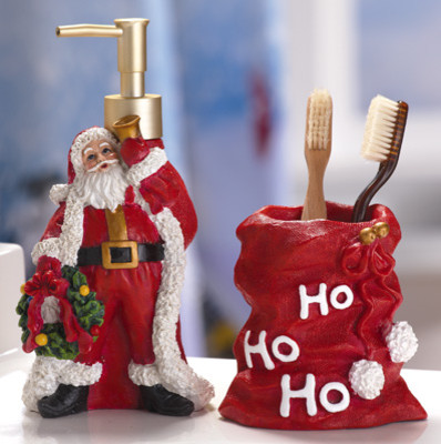 Santa claus holiday bathroom accessory set traditional for Bathroom xmas decor
