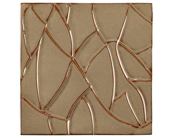 "Ceramic - ANN SACKS Chinois by Robert Kuo 9"" x 9"" ice crackle ceramic field in tea dust"