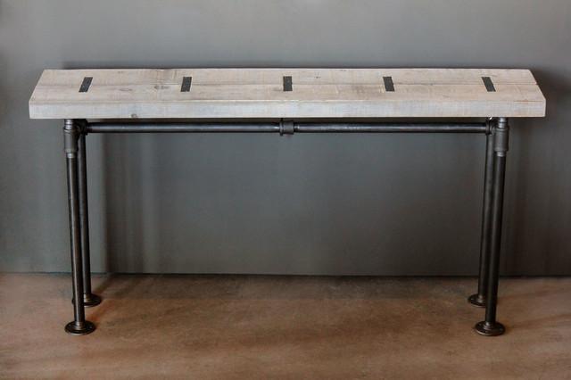 Table console indus3 39 l bois recycl et tuyaux industrial - Table console bois ...
