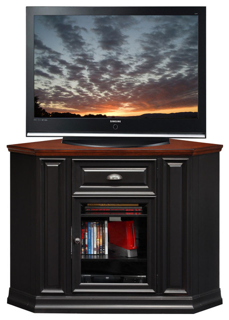 "36""H x 46""W Corner TV Stand in Black Cherry Finish - Modern - Entertainment Centers And Tv Stands"