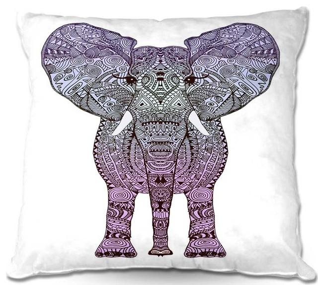 Pillow Woven Poplin by Monika Strigels Elephant Purple contemporary-decorative-pillows