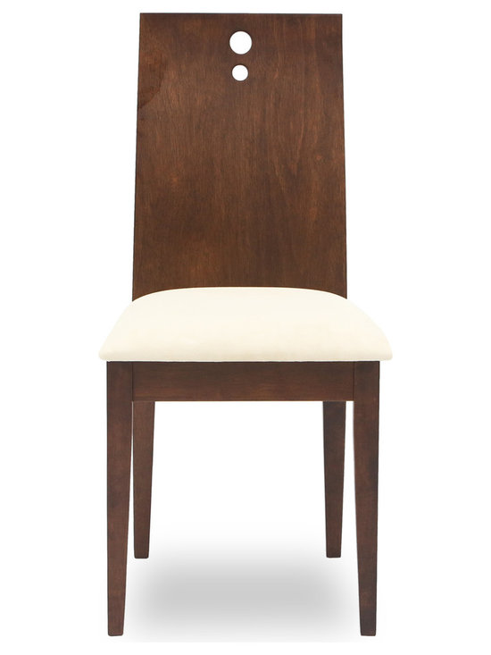 Bryght - Bella Sand Fabric Upholstered Cocoa Dining Chair - The Bella dining chair offers sophistication with a modern twist through its contemporary design. The one piece, two-dimensional curved backrest accentuated by three solid stainless steel bolts and a firm padded seating offers sturdiness with dependable comfort.