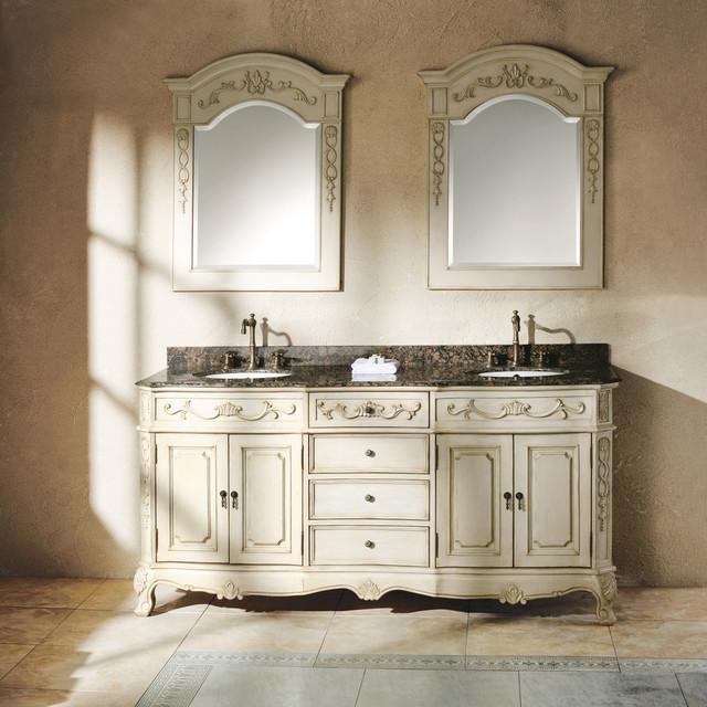 James martin furniture classico antique white 72 inch double granite vanity set contemporary for Antique white double bathroom vanity