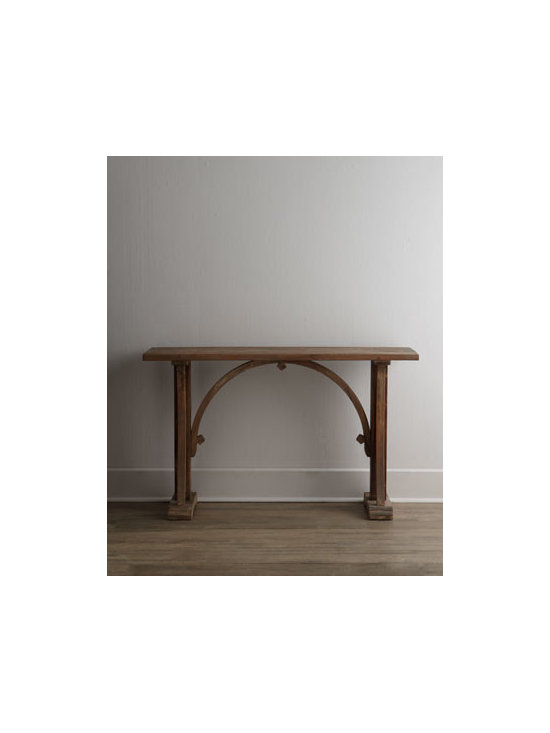 """Horchow - Cleora Console - Sleek and elegant design details add to the appeal of this eco-friendly console. The antiqued and glazed finish warms up any room. Handcrafted of reclaimed fir. Natural, sun-bleached finish. 54""""W x 14""""D x 33""""T. Imported. Boxed weight, approximatel..."""